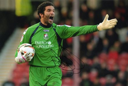 David James, Bournemouth, signed 12x8 inch photo.